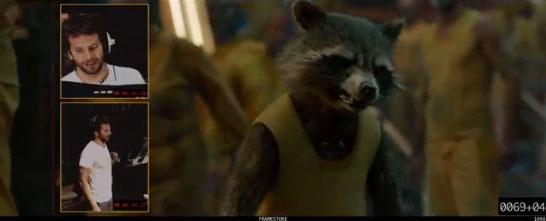 bradley cooper rocket raccoon Hear Bradley Coopers Voice for Rocket Raccoon in Guardians of the Galaxy, Plus Vin Diesel Talks Groot
