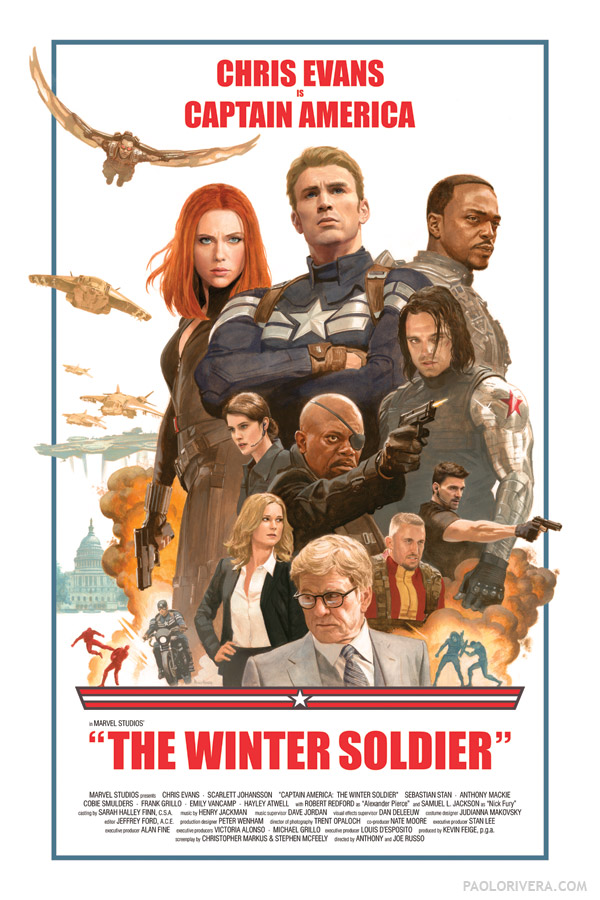 Captain America Winter Soldier Illustrated Poster