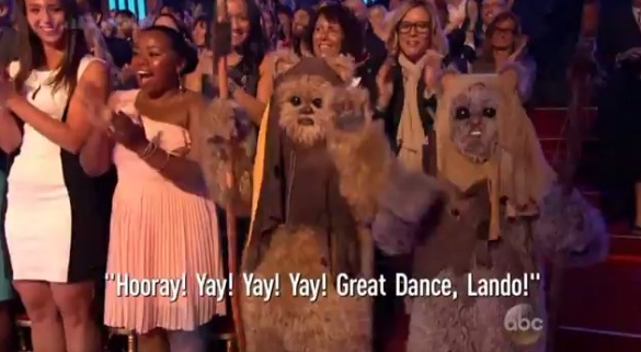 ewoksdancing Watch: Billy Dee Williams Joins Stormtroopers and Ewoks for His Dancing with the Stars Debut