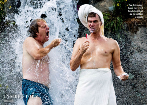dumb and dumber shower 585 Movie News: Dumb and Dumber Get All Wet (Photo); Steven Spielberg Adapting Roald Dahls The BFG; Lets Be Cops Trailer