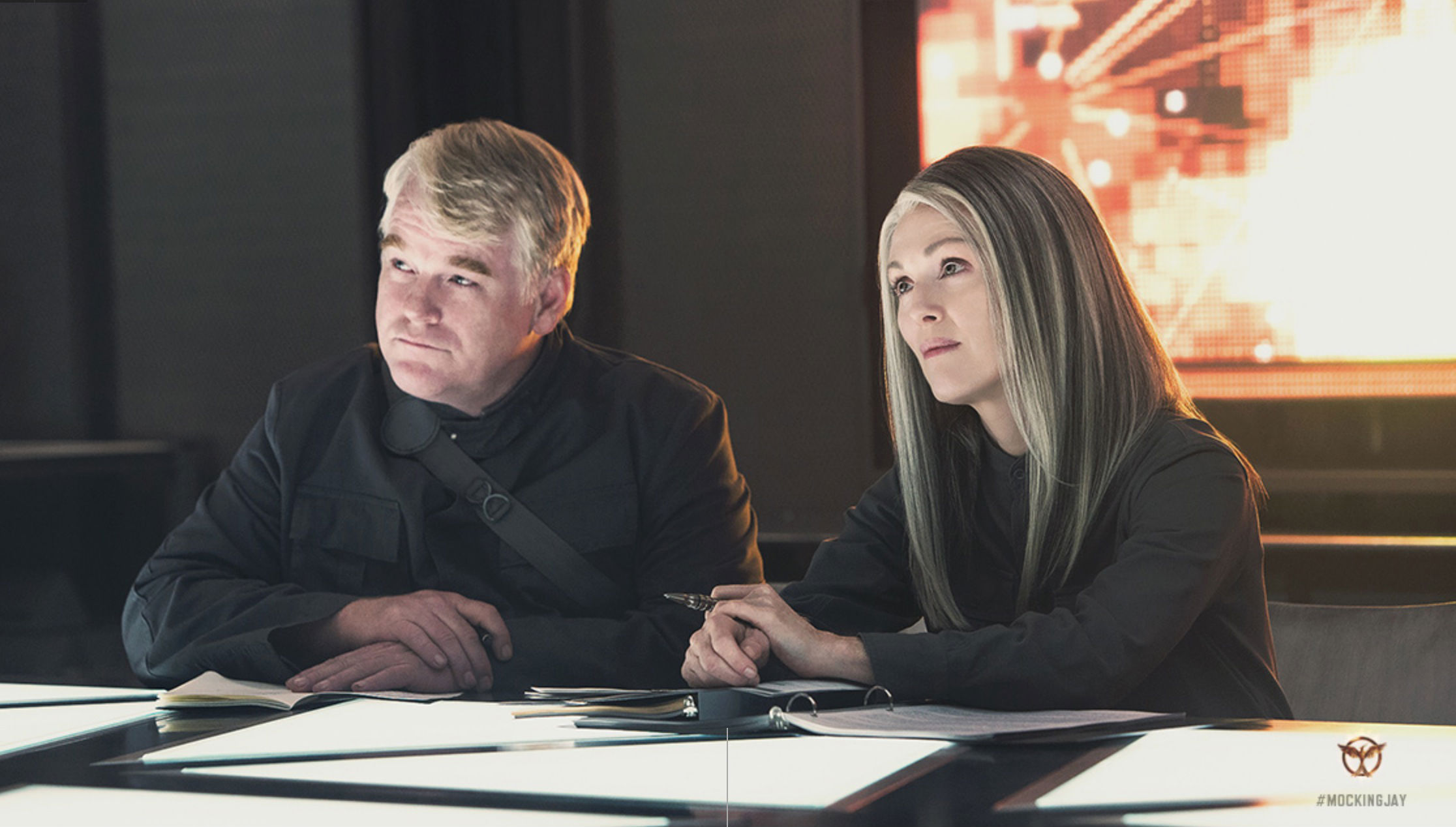 Mockingjay Part 1 Hoffman The Hunger Games: Mockingjay, Part 1 Reveals a Hot New Poster, First Look At Julianne Moore, And More