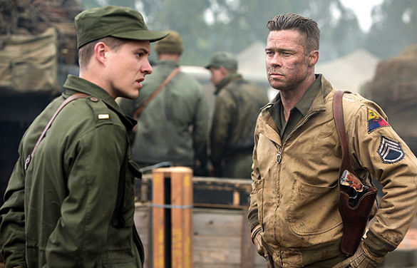 fury brad pitt 2 585 Movie News: Brad Pitt as Wardaddy in Fury Photos; Pitt and Jolie Teaming Up on Mystery Project; Star Wars Rebels Trailer