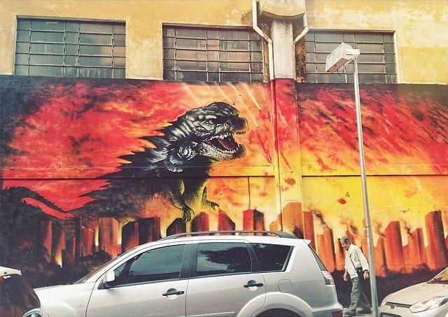 Godzilla street art Sao Paolo