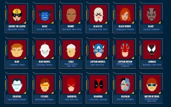 Marvel Origins infographic characters