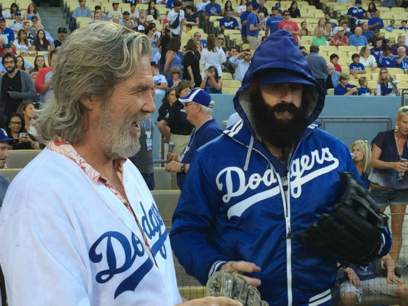 Jeff Bridges and Brian Wilson - photo by Los Angeles Dodgers