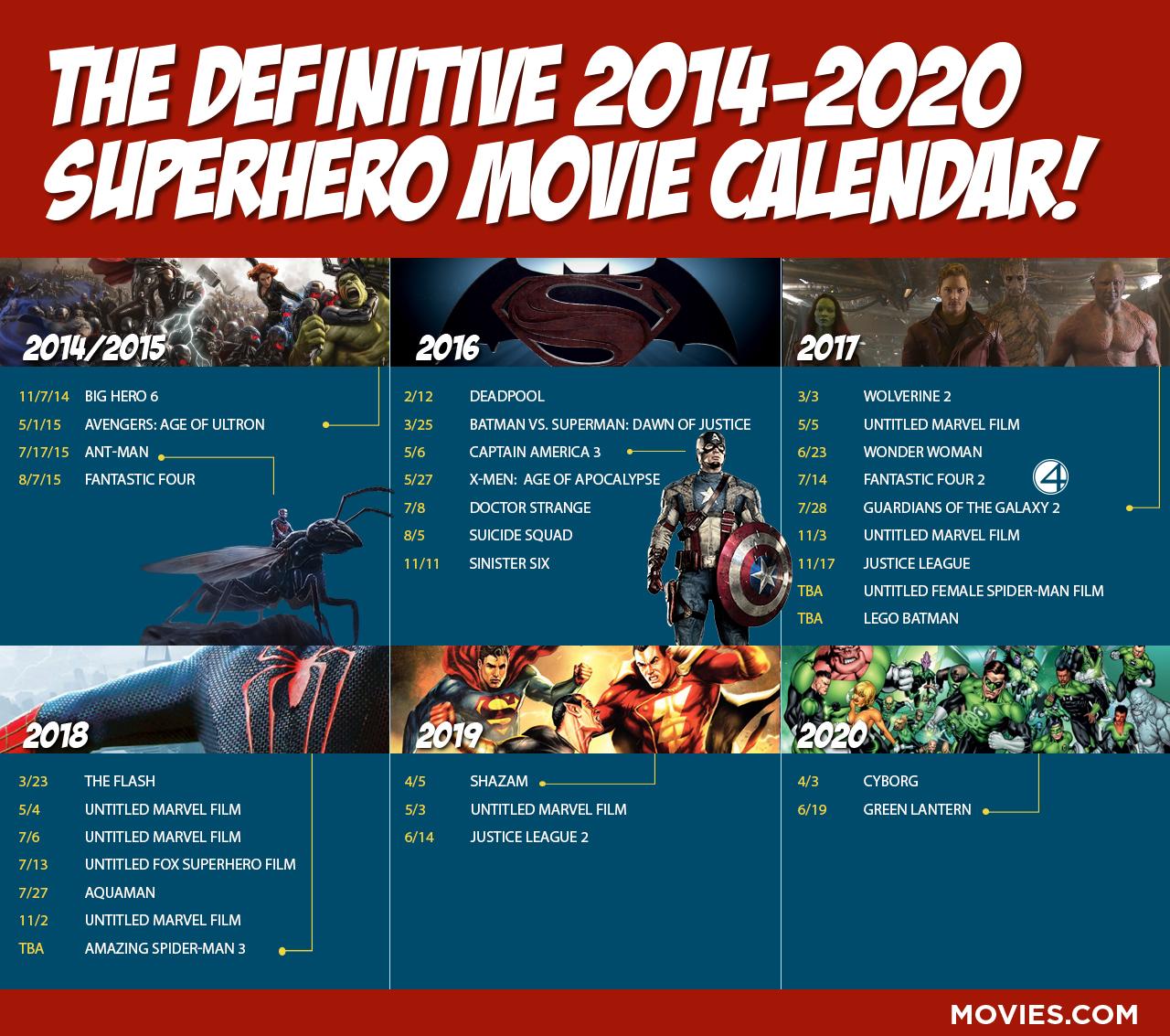 Here's Your Definitive 2014-2020 Superhero Movie Calendar...