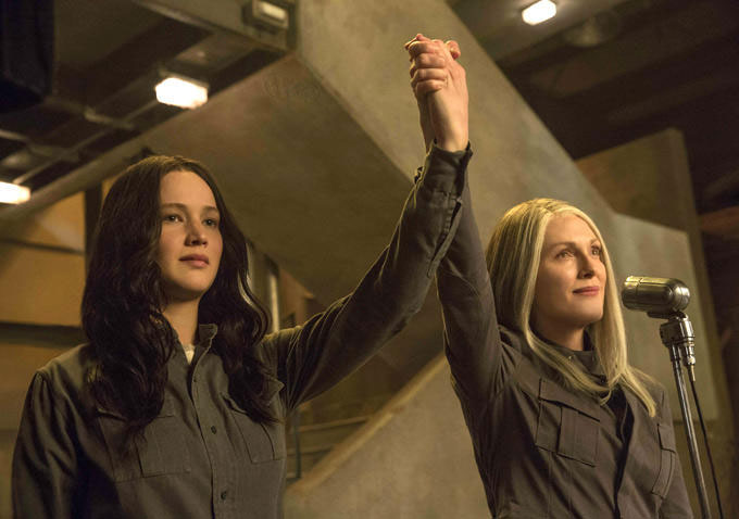Katniss and Alma Coin in in The Hunger Games: Mockingjay - Part 1