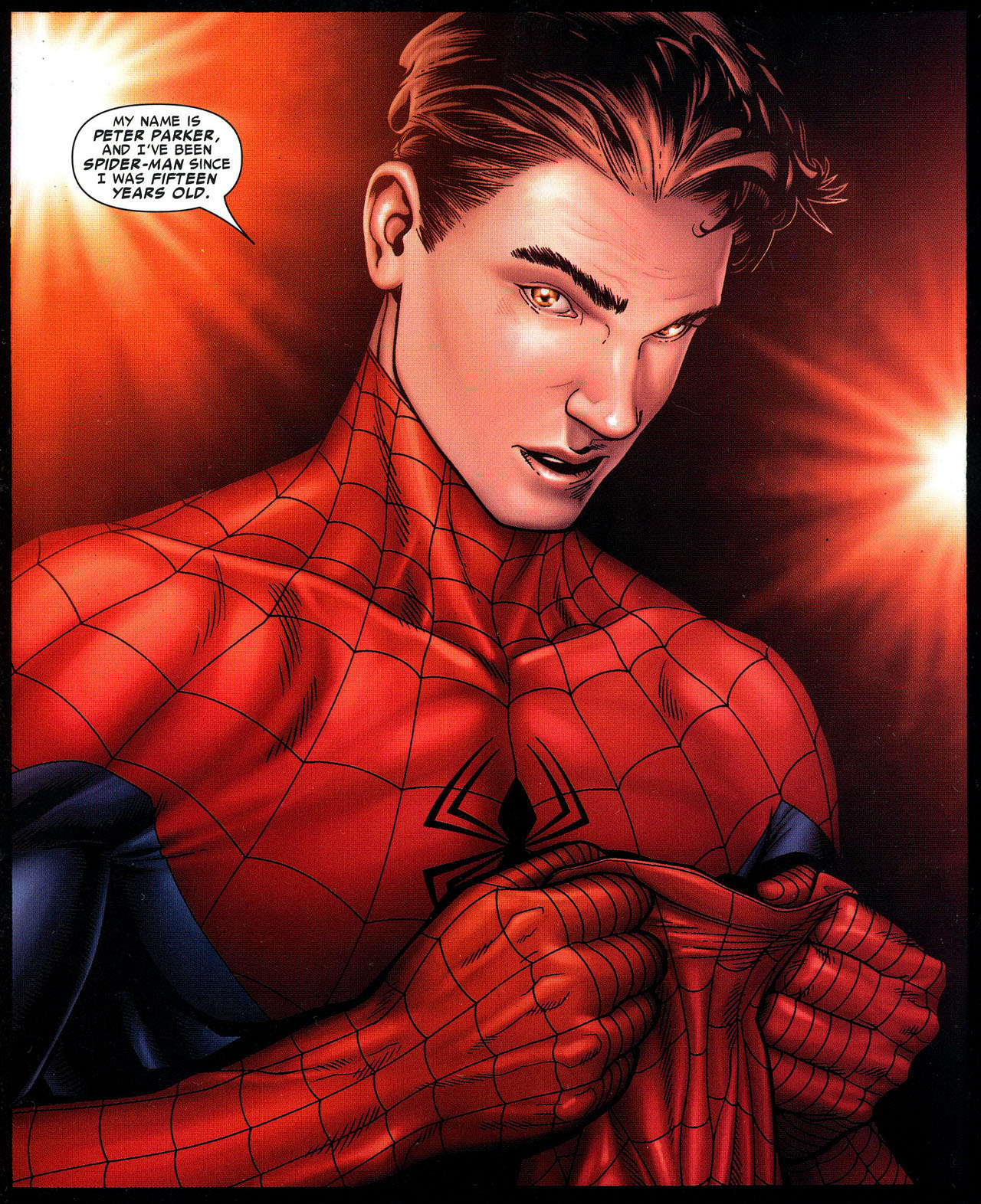 Spider-Man reveals his identity on the final page of Civil War #2 (2006). Art by Steve McNiven.