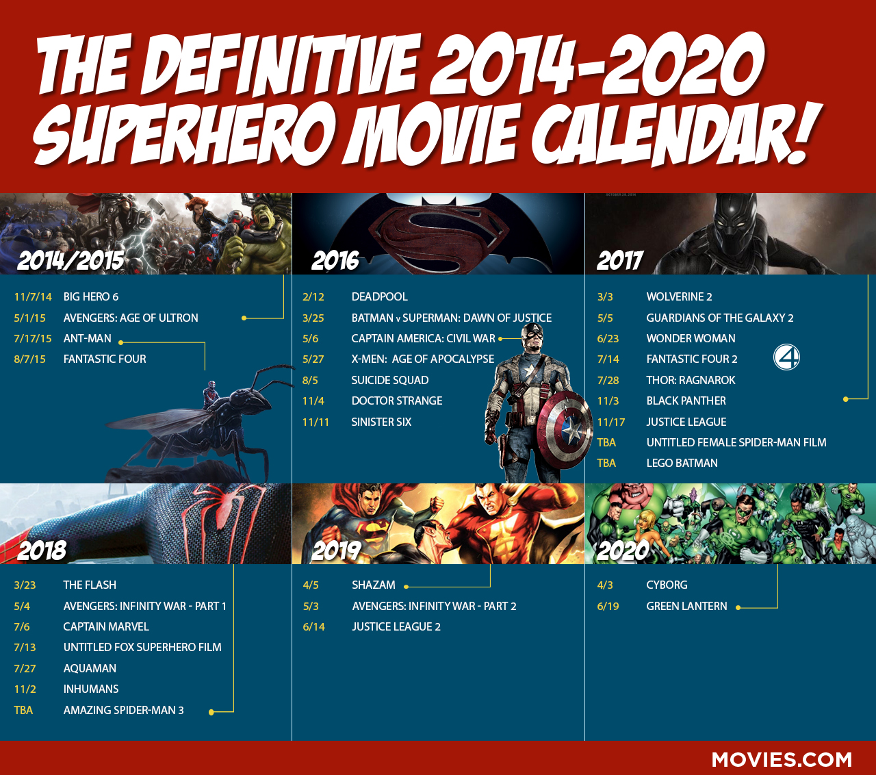 Superhero Movie Release Calendar