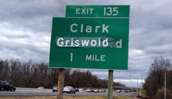 Clark Griswold sign on Garden State Parkway, 12/25/14