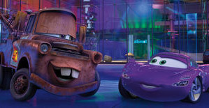 Mater and Holley Shiftwell in Cars 2.