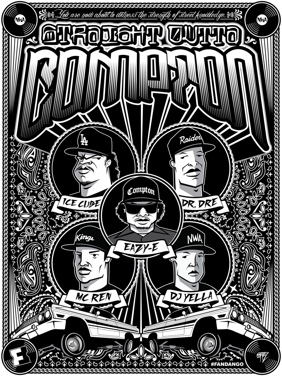 Exclusive Straight Outta Compton Movie Posters Fandango - Los angeles poster black and white