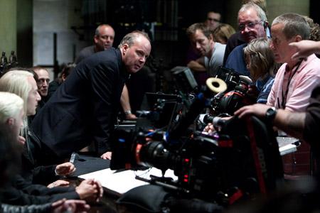 Tom Felton, Jason Isaacs and David Yates on the set of Harry Potter