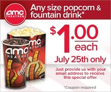 moviegoer deals 1 popcorn and drink at amc theaters on