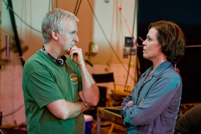 "Director James Cameron and Sigourney Weaver on the set of ""Avatar."""