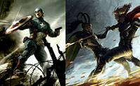 Concept art for 'Captain America' and 'Thor'