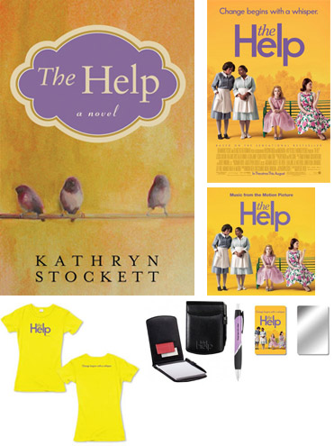 The Help novel, poster, soundtrack, t-shirt, pocket jotter, nail file/mirror.