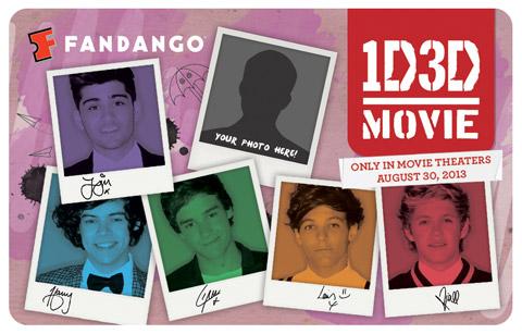 One Direction Fandango custom gift card