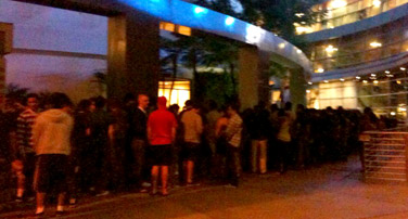 Line for Paranormal Activity screening.