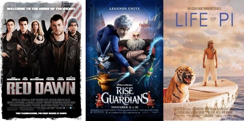 Red Dawn, Rise of the Guardians, Life of Pi