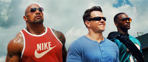 "Dwayne Johnson as Paul Doyle, Mark Wahlberg as Daniel Lugo and Anthony Mackie as Adrian Doorbal in ""Pain and Gain."""