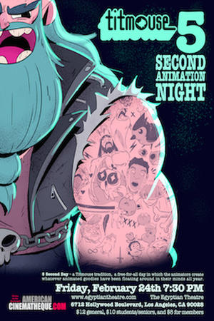 "Poster art for ""Titmouse 5 Second Animation Night."""