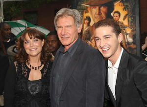 """Karen Allen, Harrison Ford and Shia LaBeouf at the N.Y. premiere of """"Indiana Jones and the Kingdom of the Crystal Skull."""""""