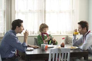"Ben Shenkman as Sam, Noah Bernett as Scot and Tom Cavanagh as Eric in ""Breakfast With Scot."""