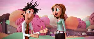 "Bill Hader as Flint Lockwood and Anna Faris as Sam Sparks in ""Cloudy With A Chance Of Meatballs."""