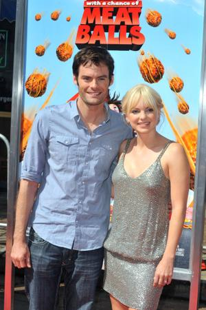 "Bill Hader and Anna Faris at the California premiere of ""Cloudy with a Chance of Meatballs."""