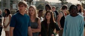 "Randy Wayne as Jake Taylor, Deja Kreutzberg as Amy and Kim Hidalgo as Andrea in ""To Save a Life."""
