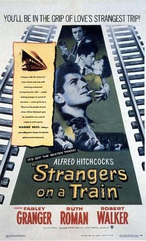 "Poster art for ""Strangers on a Train."""
