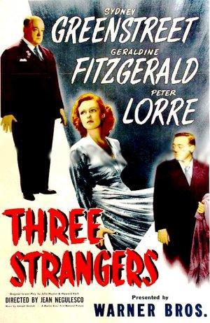 """Poster art for """"Three Strangers."""""""