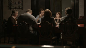 "Marceline Hugot, Mike Houston, Khan Baykal, Kathleen McNenny, Aya Cash and Oliver Henzler in ""The Happy House."""