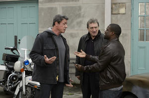 "Sylvester Stallone as Henry ""Razor"" Sharp, Robert De Niro as Billy ""The Kid"" Mcdonnen and Kevin Hart as Dante Slate Jr. in ""Grudge Match."""
