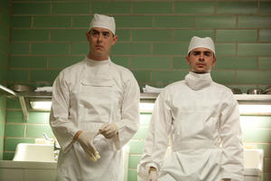 "Colin Hanks as Dr. Malcolm Perry and Zac Efron as Dr. Jim Carrico in ""Parkland."""