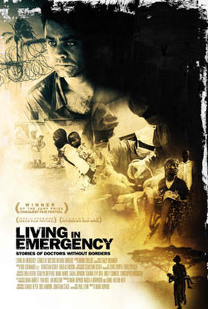 "Poster art for ""Living in Emergency: Stories of Doctors Without Borders."""