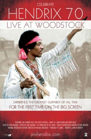 "Poster art for ""Hendrix 70: Live at Woodstock."""