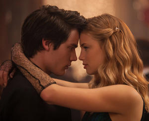 "Dominic Sherwood and Lucy Fry in ""Vampire Academy."""