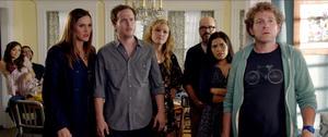 "Rachel Boston, Kevin M. Brennan, Erinn Hayes, Blaise Miller, Julia Stiles, David Cross, America Ferrera and Jeff Grace in ""It's a Disaster."""