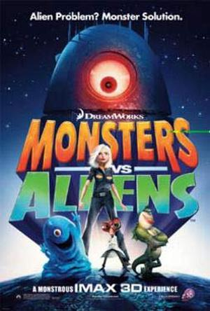 "Poster art for ""Monsters vs Aliens."""