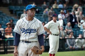 "Chadwick Boseman as Jackie Robinson in ""42."""