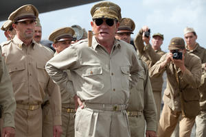 "Tommy Lee Jones as General Douglas MacArthur in ""Emperor."""