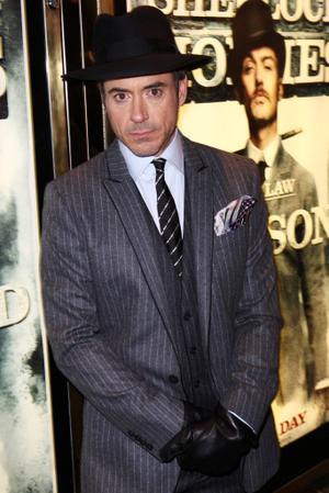 "Robert Downey, Jr. at the London premiere of ""Sherlock Holmes."""