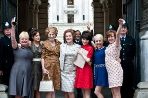 "Nicola Duffett as Eileen, Andrea Riseborough as Brenda, Geraldine James as Connie, Miranda Richardson as Barbara Castle, Sally Hawkins as Rita, Jaime Winstone as Sandra and Lorraine Stanley as Monica in ""Made in Dagenham."""