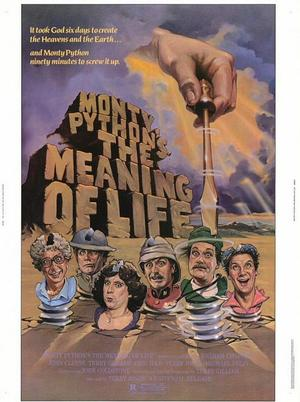 """Poster art for """"Monty Python's The Meaning of Life."""""""