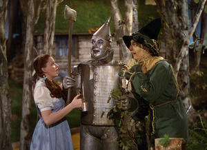 "Judy Garland, Jack Haley and Ray Bolger in ""The Wizard of Oz."""