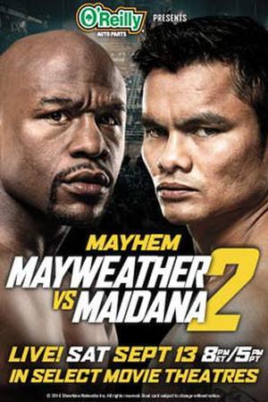 "Poster art for ""Mayhem: Mayweather vs Maidana."""