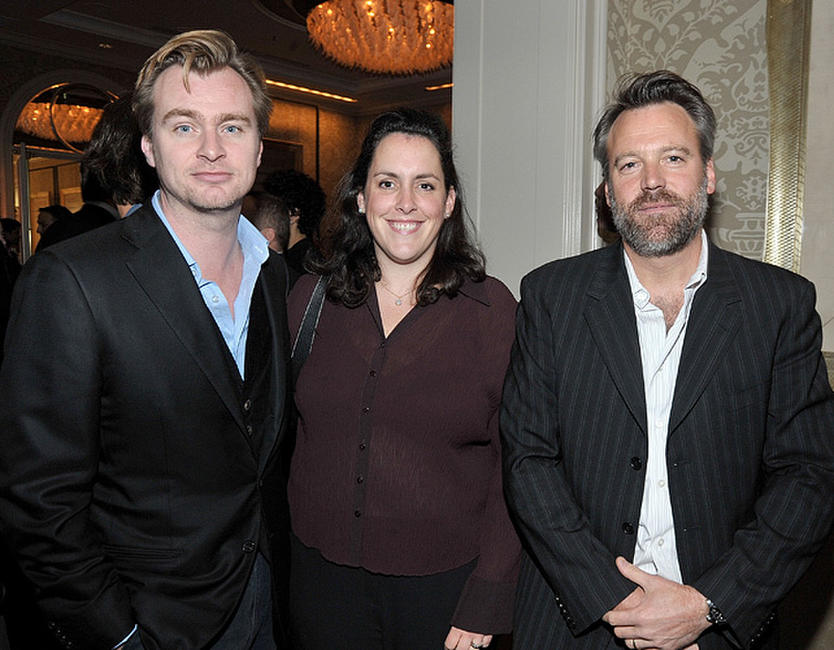 Director Christopher Nolan, producer Emma Thomas and Wally Pfister at the AFI Awards 2008 reception.