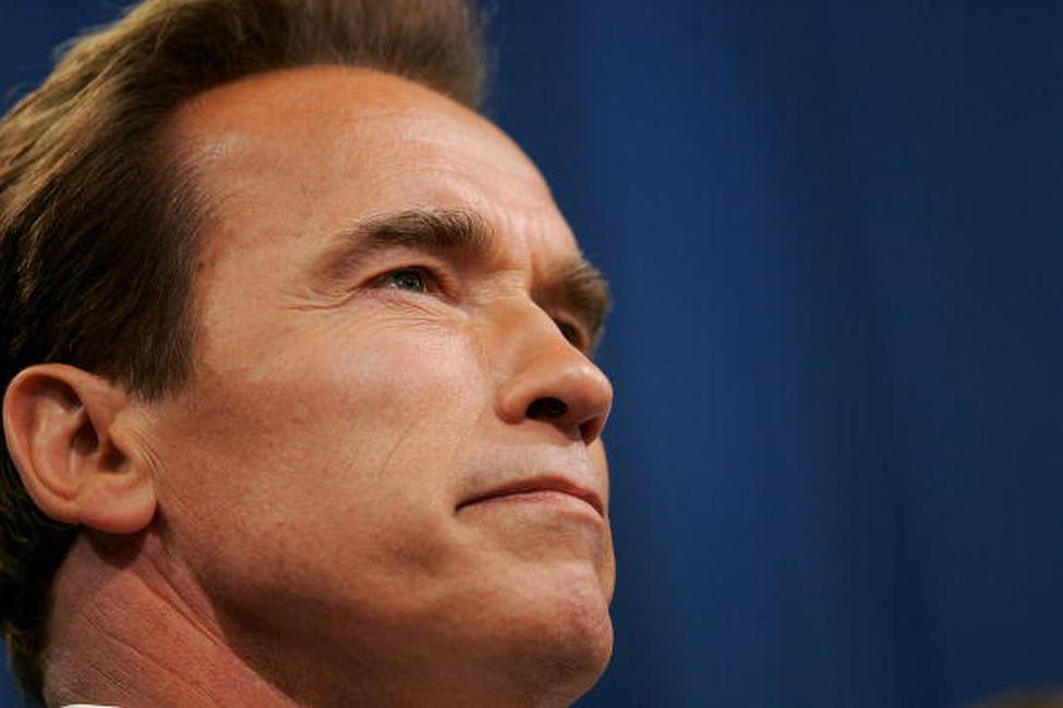 Arnold Schwarzenegger at a news conference at the California state Capitol.
